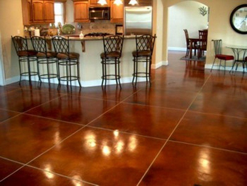 Interior stained concrete floor gallery glossy floors for How to care for stained concrete floors
