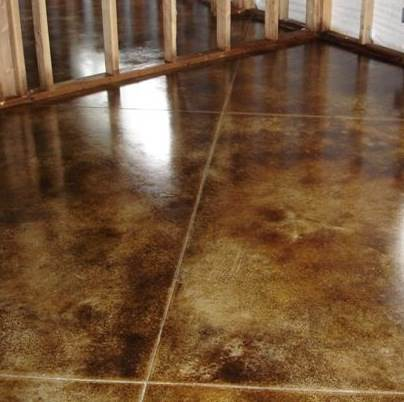 Interior stained concrete floor gallery glossy floors for How to clean cement stains
