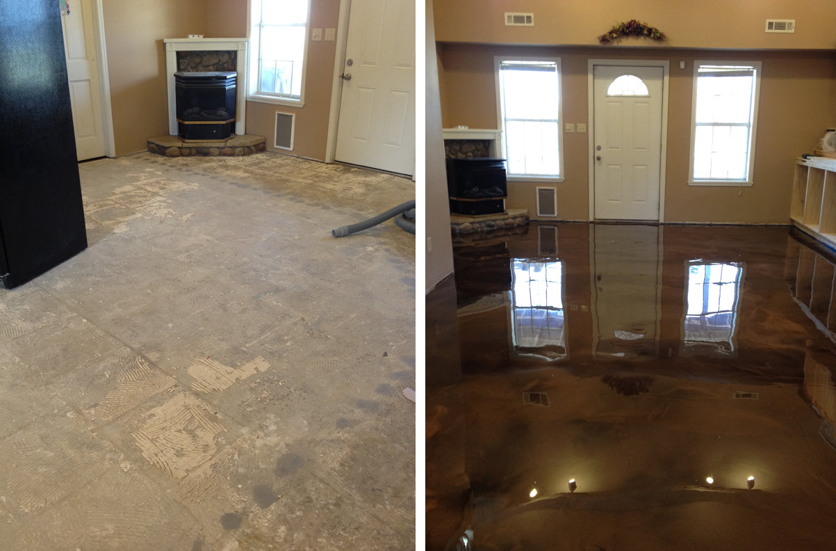 Reflection enhanced epoxy concrete system before and after for Before and after flooring