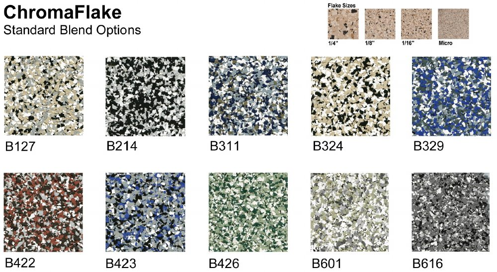 Garage floor epoxy color chart