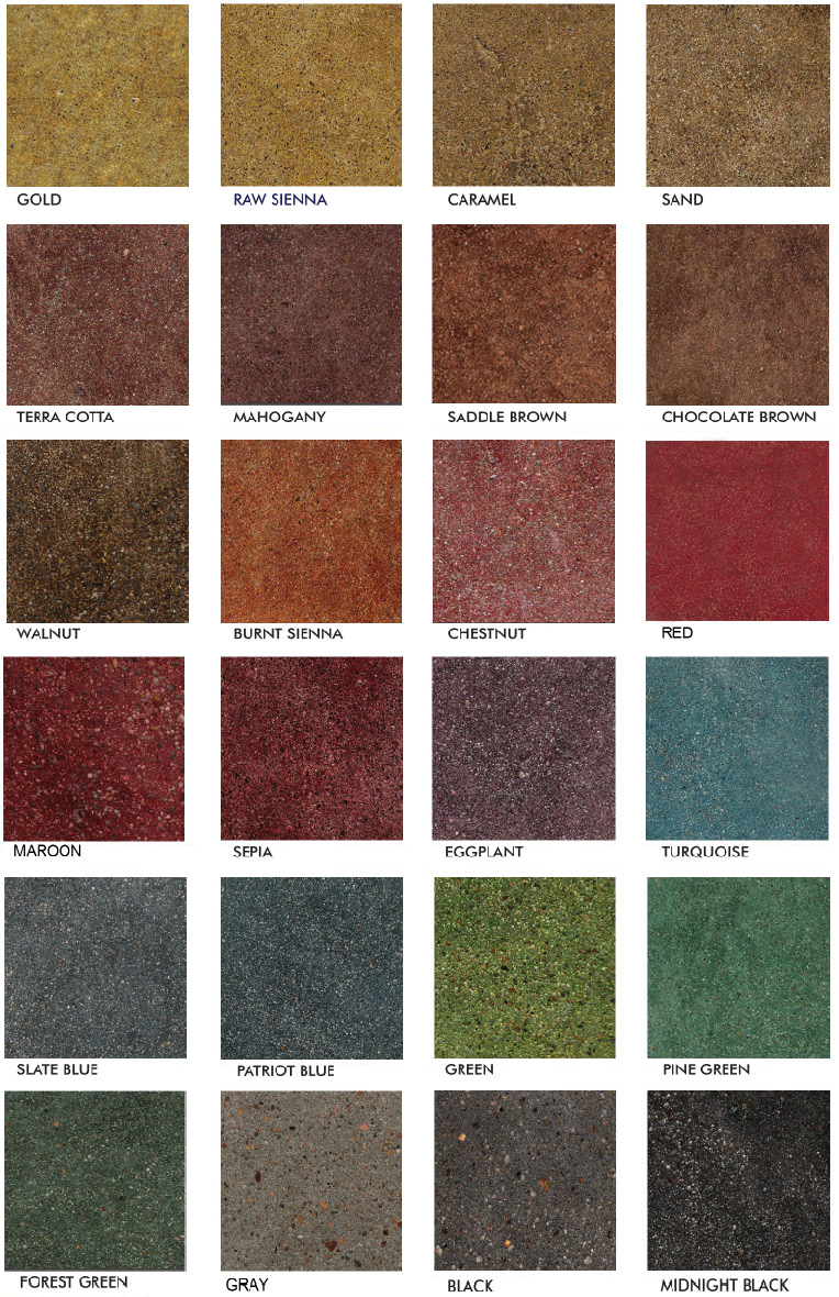 Stained polished concrete color chart glossy floors for Cement paint colors for floors