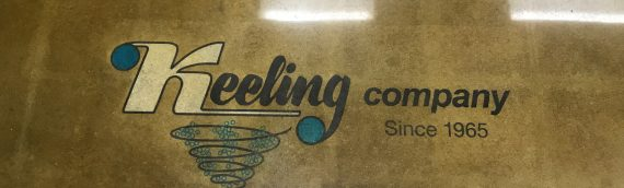 Polished Concrete With A MultiColored Logo