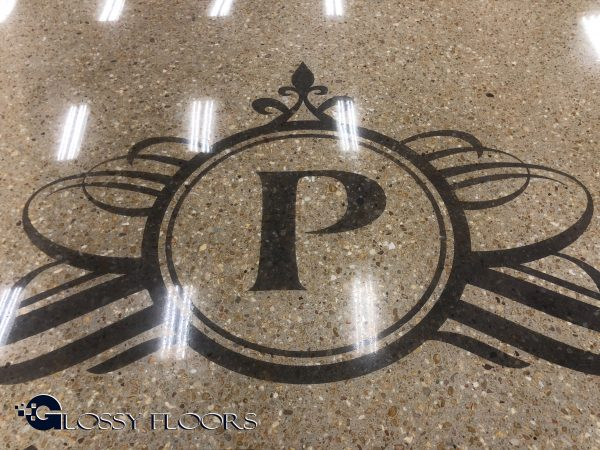 Dyed Logo on Polished Concrete Floor