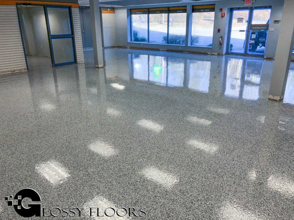 Epoxy Flakes On A Showroom Floor