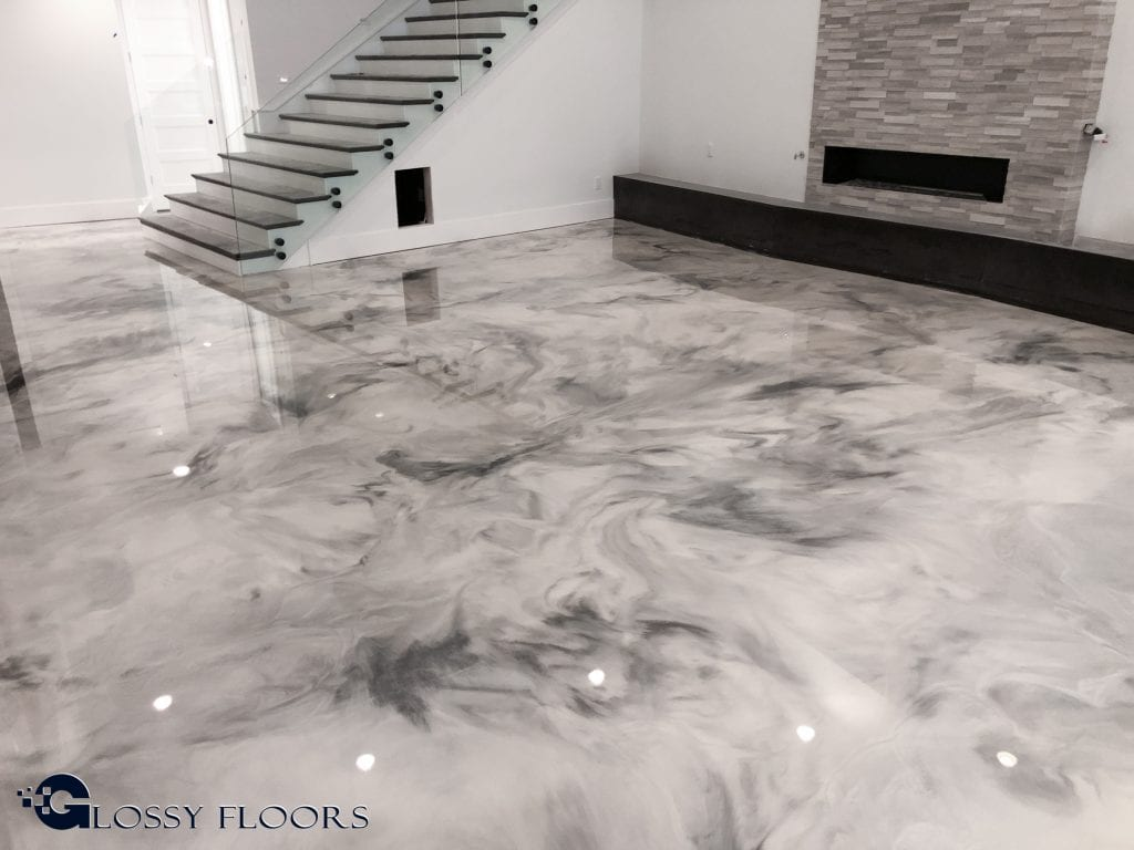 Metallic Marble Epoxy Floor From Glossy