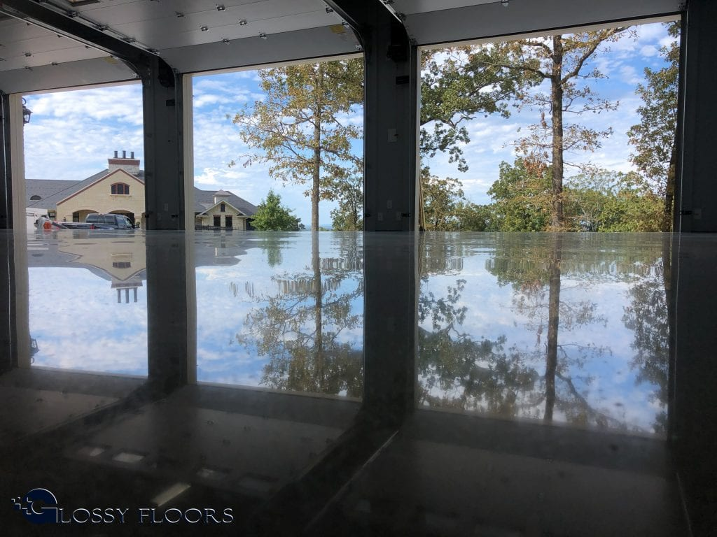 Beautiful reflection on a Polished concrete garage floor