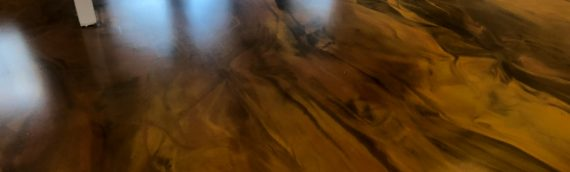 Metallic Marble Epoxy Floor – Gold, Brown, and Copper