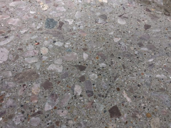 Close up of an exposed aggregate floor
