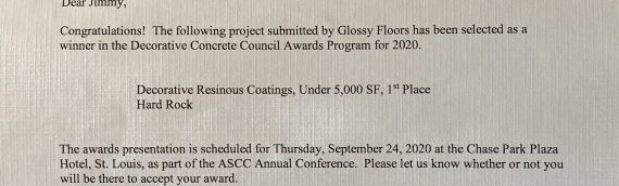 Glossy Floors Awarded 1st Place by the ASCC