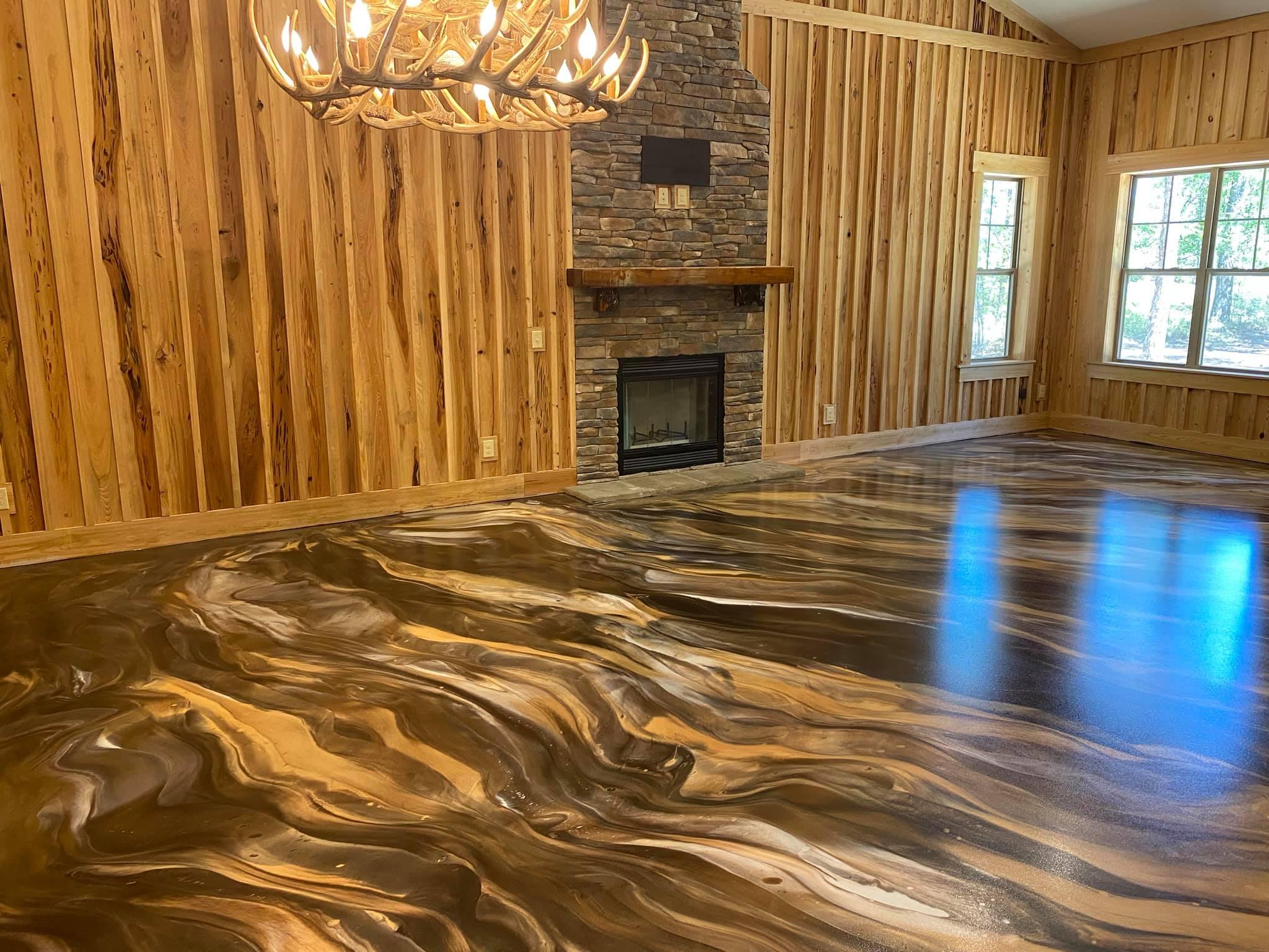 Rustic Metallic Marble Floor