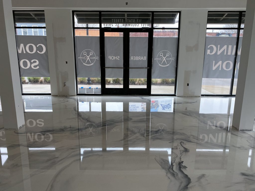 White Marble Metallic Epoxy Floor