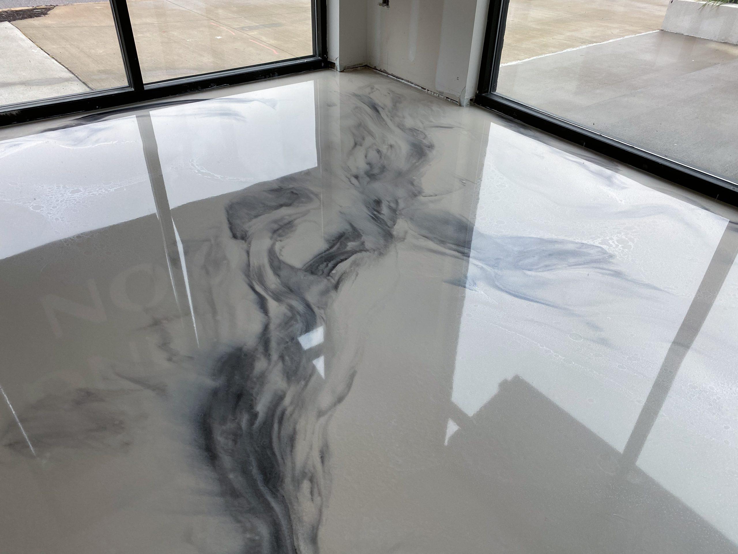 White Marble Metallic Epoxy Floor